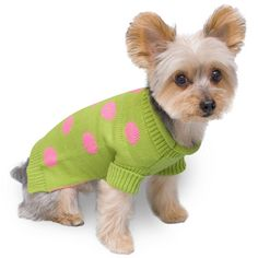 Stinky G Lime Green Dog Pet Sweater with Pink Polka Dot *** Find out more details by clicking the image : Dog sweaters