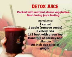 Fruit & Vegetable Juice: carrot, apple, celery, beet, parsley, cilantro, ginger ; healthy