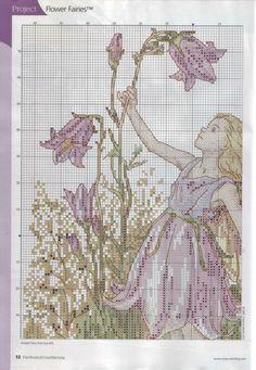 Cross stitch - fairies: Harebell fairy - Cicely Mary Barker (chart - part A1)
