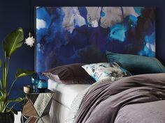 Navy Blue art bedhead