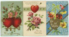 Lot of Three Valentine Greetings Embossed Postcards Hearts Arrows Key Flowers | eBay
