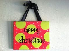 Merry Christmas canvas by preppy-girl-gifts on ebay