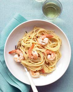 Pasta with Rosemary Shrimp Scampi