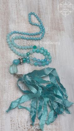 Turquoise Sari Silk Tassel Necklace, Aqua Silk Tassel Necklace, Turquoise Boho Chic Necklace, Statement Necklace, by VintageRoseGallery Etsy Jewelry, Boho Jewelry, Handmade Jewelry, Jewelry Ideas, Turquoise Gemstone, Turquoise Necklace, Mermaid Necklace, Sari Silk, Tassel Necklace