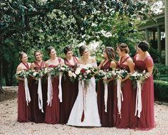 Bridesmaids' Dresses: Jenny Yoo - http://www.stylemepretty.com/portfolio/jenny-yoo Groom's Attire: The Tie Bar - http://www.stylemepretty.com/portfolio/the-tie-bar Hair