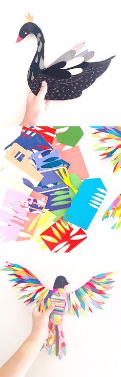 Cut paint chip collage | Collage project for kids | BIRD ART | paper cut art lesson