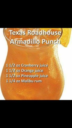 Texas Roadhouse Armadilo Punch -- this is Christmas Punch (except it has less cranberry juice, and rum instead of ginger ale--yes! Liquor Drinks, Cocktail Drinks, Cocktails, Christmas Drinks, Holiday Drinks, Christmas Punch, Alcholic Drinks, Non Alcoholic Drinks, Refreshing Drinks