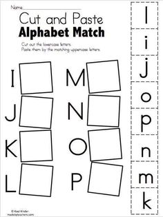 Alphabet Match I to P - Free Worksheets Cut and paste the matching uppercase and lowercase letters. More Alphabet Match Worksheets Alphabet Match A to… Preschool Learning Activities, Letter Activities, Free Preschool, Preschool Printables, Preschool Worksheets, Free Worksheets, Matching Worksheets, Preschool Homework, Fall Activities For Preschoolers