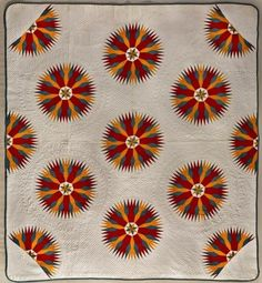 """pwlanier: """"Slashed Star quilt by Sara Maartz. Pennsylvania ca. Slashed Star is a variation of the better-known Mariner's Compass design. Pattern names tend to vary over time and place, and the. Old Quilts, Antique Quilts, Star Quilts, Vintage Quilts, Victorian Quilts, Sunflower Quilts, Mariners Compass, Compass Design, Quilt Labels"""