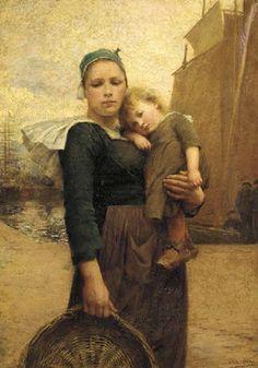 Sending father off to sea par Théophile-Louis Deyrolle