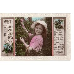 1921 Rotary Photo Just to Wish You Birthday Joys Rhyme Postcard Embossed Edges Listing in the Greetings,Postcards,Collectables Category on eBid United Kingdom | 145916217
