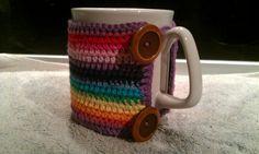 Rainbow stripe mug cosy