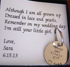 Wedding Quotes :Father of the Bride Dads Keychain Gift for Father of the Bride Personalized keychain complete boxed gift set for father of bride Wedding Quotes, Wedding Wishes, Our Wedding, Dream Wedding, Trendy Wedding, Wedding Stuff, Wedding Dress, Wedding Reception, Wedding Table