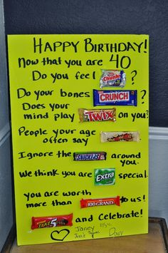Birthday Card Ideas Funny Candy Bars 30 Ideas For 2019 Birthday Candy Posters, Candy Birthday Cards, Happy Birthday Signs, 40th Birthday Parties, Birthday Fun, Candy Bar Posters, Diy Birthday Poster, 40th Birthday Sayings, 40th Birthday Ideas For Men