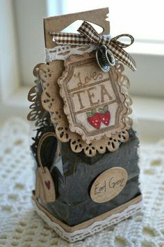 """""""Tea for two"""" featuring the """"So Wrapped"""" Magnolia Doohickey Die Homemade Gifts, Diy Gifts, Diy And Crafts, Paper Crafts, Creative Gifts, Craft Fairs, Cardmaking, Tea Party, Christmas Crafts"""