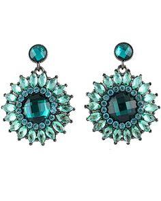 Green Gemstone Silver Flower Earrings 6.93 at SheIn.com