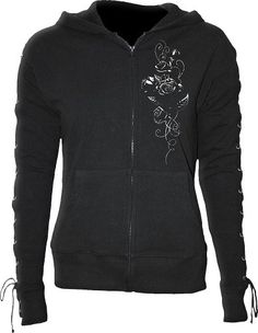 Spiral – Womens – ENTWINED – Laceup Full Zip Glitter Hoody Black