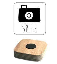 magneet camera smile houtprint - Smile magnet