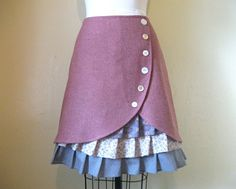 Dusty Rose ruffle front skirt Sz 8 by LoveToLoveYou on Etsy