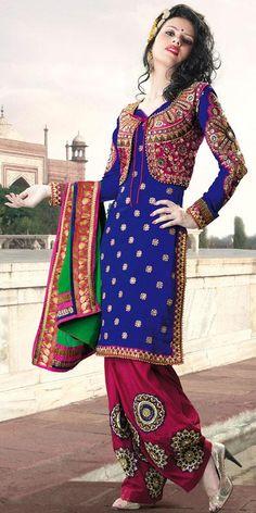 $129.10 Blue Full Sleeve Faux Georgette Knee Length Punjabi Salwar Kameez 21729