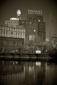 The Pillsbury A-Mill from the Mississippi River in Minneapolis, MN.