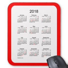 2018 Red Holiday Calendar by Janz Mouse Pad