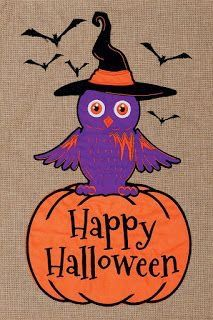 """Happy Halloween Costume Owls Small Garden Flag 12/"""" X 18/""""  Two Sided"""