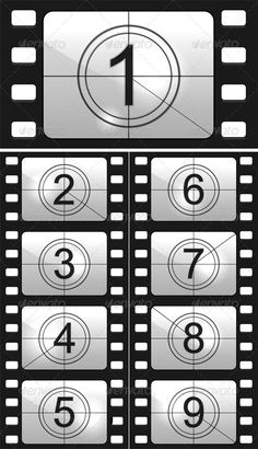 Find Film Countdown Numbers Vector Illustration stock images in HD and millions of other royalty-free stock photos, illustrations and vectors in the Shutterstock collection. Deco Cinema, Cinema Party, Cinema Film, Kino Party, Movie Night Party, Film Reels, Hollywood Theme, Hollywood Birthday Parties, Movie Themes