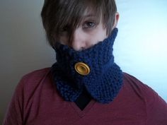 Blue crochet scarf Cowl neck scarf neck warmer with attached vintage buttons