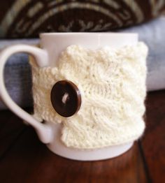 hand knit mug cozy. $12.00, via Etsy.
