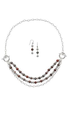 Jewelry Design - Triple-Strand Necklace and Earring Set with African Bloodstone Gemstone Beads and Sterling Silver Beads - Fire Mountain Gems and Beads