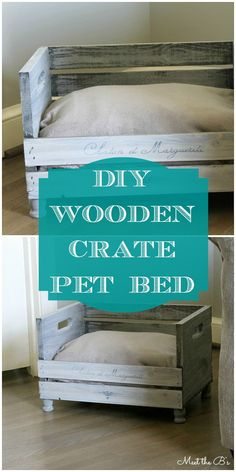 Cheap Home Decor Ideas - Rustic Style DIY Pet Bed Made With Wooden Crate - Farmhouse Furniture and Decor Ideas Diy Wooden Crate, Diy Dog Crate, Puppy Crate, Cat Crate, Crate Bed, Lit Chat Diy, Diy Cat Bed, Pet Beds Diy, Dog House Bed