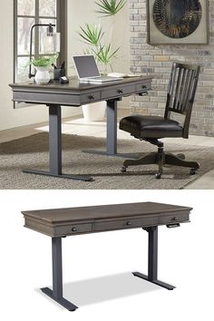 Style, simplicity and fine craftsmanship are the hallmarks of the Harper Point collection. This stunning look is coupled with beautiful gunmetal hardware and an elegant fossil finish. This group was inspired with your comfort in mind and will be the dash of styling to take your beautiful home to the next level. #shopgahs #adjustableliftdesk #powerliftdesk #standupdesk #office #homeoffice #officedesk #desk