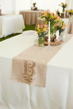 rustic wedding table runner.. I could make this with a stencil and some paint. Easy peasy, lemon squeezy.