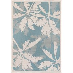 Found it at Wayfair - Monaco Coastal Flora Ivory/Turquoise Indoor/Outdoor Area Rug