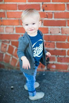 Trendy baby boys style - moccasins, skinny jeans, tee and cardigan from Roman & Leo