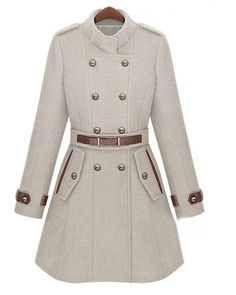 To find out about the Double Breasted Banded Collar Belt Woolen Coat at SHEIN, part of our latest Outerwear ready to shop online today! Winter Wear, Autumn Winter Fashion, Fall Winter, Winter White, Cute Coats, Double Breasted Coat, Trench Coats, Wool Coats, Belted Coat