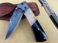 NEW CUSTOM HAND MADE DAMASCUS STEEL LOCKABLE FOLDING KNIFE F-27