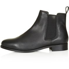 TOPSHOP MONTH Chelsea Boots ($32) ❤ liked on Polyvore featuring shoes, boots, ankle booties, black, topshop, topshop booties, black leather boots, real leather boots, leather boots and leather ankle booties