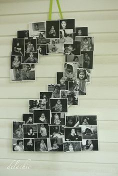What a cute idea! Make a collage in the shape of a number to represent the age or anniversary year with pictures of the one(s) being honored.