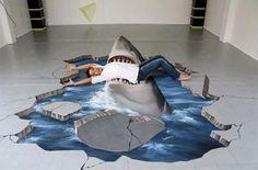 side walk chalk art shark | 10 Amazing 3D Sidewalk Chalk Drawings – Enpundit