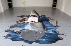 side walk chalk art shark   10 Amazing 3D Sidewalk Chalk Drawings – Enpundit