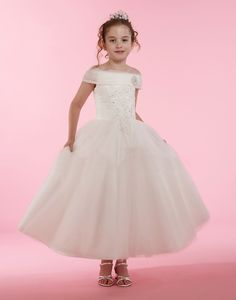 Couture-Designer Girls Dress Style 1999 - Off the Shoulder Tulle and Lace Dress in Choice of Color Girls Designer Dresses, White Flower Girl Dresses, Embroidered Lace, Formal Dresses, Wedding Dresses, Off The Shoulder, Lace Dress, Ball Gowns, Bodice