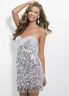Black by Blush C125 - Crystal Pink and Silver Sequin Strapless Homecoming Dress
