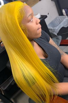 Yellow Hair, Hair Color Blue, Black Hair, Colored Hair, Cute Hair Colors, Bombshell Beauty, Natural Hair Styles, Long Hair Styles, Virgin Hair