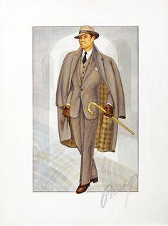 Walter Plunkett original costume sketch of Glenn Ford : Lot 559