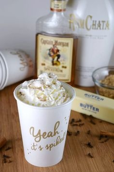 Hot Buttered RumChata - a slow cooker party drink Christmas Drinks, Holiday Drinks, Fun Drinks, Yummy Drinks, Holiday Recipes, Mixed Drinks, Drinks Alcohol, Alcoholic Beverages, Party Drinks