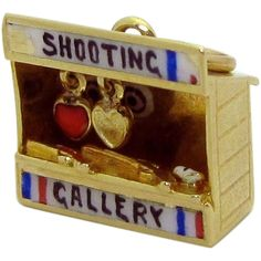 Vintage 14K Gold 3D Sloan & Co. Enameled Shooting Gallery Charm from charmalier on Ruby Lane