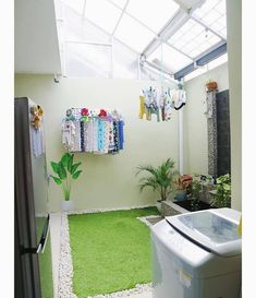 60 drying room design ideas that you can try in your home 16 ~ Litledress Laundry Room Design, Home Room Design, House Design, Interior Design Living Room, Living Room Designs, Outdoor Laundry Rooms, Outdoor Kitchens, Drying Room, Home And Deco