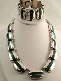 Vintage Necklace & Bracelet Set | Designer unknown ~ modeled after the works and style of Enrique Ledesma.  sterling silver with inlaid green Malachite.